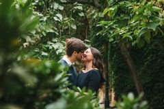 A loving young beautiful couple of students from Europe cuddling and kissing between trees in the park. Close feelings. And emotions between people royalty free stock images