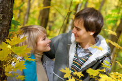Loving young couple in the autumn forest Royalty Free Stock Images