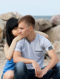 Loving young couple is embracing Stock Image
