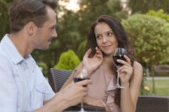 Loving young couple holding wine glasses in park Stock Photography