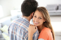Loving young couple at home Stock Photos