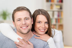 Loving young couple in an intimate embrace Royalty Free Stock Photography