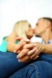 Loving young couple kissing Stock Photos