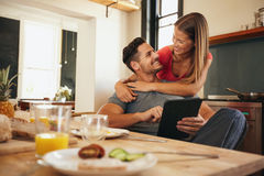 Loving young couple in morning Stock Image