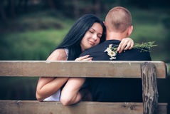 Loving young couple in park Stock Photo