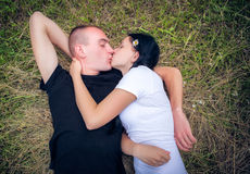 Loving young couple in park Stock Photography
