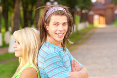 Loving young couple playing outside Royalty Free Stock Photography