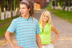 Loving young couple playing outside Stock Image