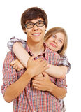 Loving young couple in shirts Royalty Free Stock Images