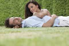 Loving young couple spending quality time in park Royalty Free Stock Images