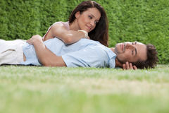Loving young couple spending quality time in park Royalty Free Stock Photography