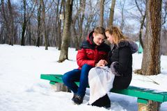Loving young couple in winter in park royalty free stock images