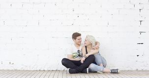 Loving young urban couple stock video footage