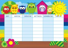 Lovlely background with pencils and timetable Royalty Free Stock Photo