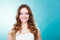 Lovly girl long curly hair portrait Stock Photo
