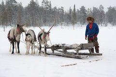 Lovozero, Russland - 8. Januar 2014, nationales Kostüm Sami nahe dem Ren Lizenzfreie Stockfotografie