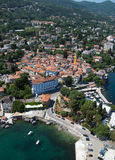 Lovran linii brzegowej powietrza panoramiczna fotografia w Chorwacja Zdjęcie Stock
