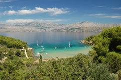 Picturesque view on sandy Lovrecina beach on Brac  Royalty Free Stock Images