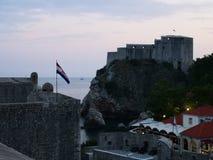 lovrijenac堡垒视域从墙壁的 库存照片