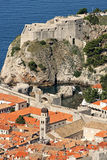 Lovrijenac and Bokar Forts, Franciscan Monastery. Fort Lovrijenac, Fort Bokar and Franciscan Monastery seen from Minceta Fort Royalty Free Stock Photos