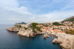 Lovrijenac fort and old town in  Dubrovnik Royalty Free Stock Images