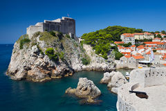 Lovrijenac Fortress in Dubrovnik. Lovrijenac Fortress at the northern harbor entrance from the old town walls in Dubrovnik, Croatia Royalty Free Stock Images