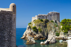 Lovrijenac Fortress in Dubrovnik. Lovrijenac Fortress at the northern harbor entrance from the old town walls in Dubrovnik, Croatia Royalty Free Stock Image
