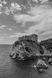 Lovrijenac II. A black and white picture of the Lovrijenac fortress in Dubrovnik Royalty Free Stock Photos