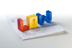 Low. The word low made from Lego blocks Royalty Free Stock Photo