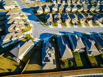 Low aerial Sunset Suburban Homes North of Austin near Round Rock Royalty Free Stock Photography