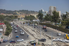 Low aerial view of Addis Ababa traffic Royalty Free Stock Photo