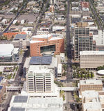 Low aerial view of city of Phoenix, Arizona Stock Images