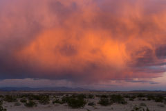 Low altitude clouds along arizona route 66 at sunset. Low hanging clouds lit be sunset in arizona Royalty Free Stock Photography