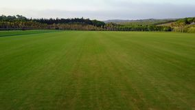 Low altitude flight over polo field stock video