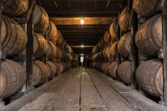 Low Angle of Bourbon Aging Warehouse Walkway Stock Photos