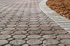 Free Low Angle Brick Paver Driveway Stock Images - 130996684