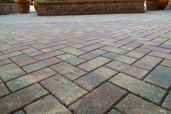 Low angle brick sidewalk Royalty Free Stock Photo