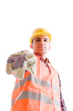 Low angle builder pointing finger to the camera Stock Photo
