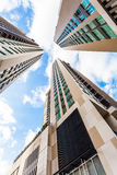 Low Angle Between Buildings In Bangkok Thailand Stock Images
