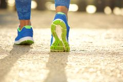 Low angle close up female running shoes Royalty Free Stock Photo