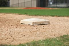 Close up low angle view of third base on a youth baseball field royalty free stock photos