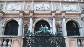 Low angle closeup view of bell tower at San Marco Square in Venice stock video