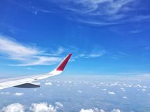 Low angle with Cloudy. Landscape from  airplane Royalty Free Stock Images