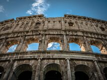 Low Angle of the Colosseum Rome at Daytime Stock Image