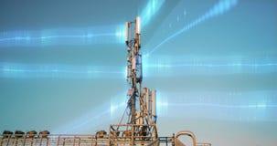 Modern tower transmitting data against sky