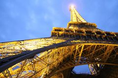 Low Angle of Eiffel Tower Paris Stock Images