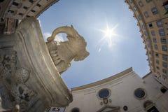 Low-angle and fisheye view of the Obelisk  in Piazza della Rotonda. Rome Royalty Free Stock Photo