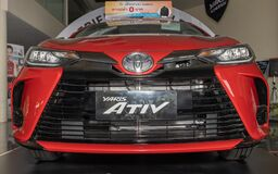 Low Angle Front Red Toyota Yaris Ativ 2020 Car in Car Showroom
