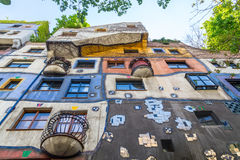 Low angle of Hundertwasserhaus in Vienna Stock Photos