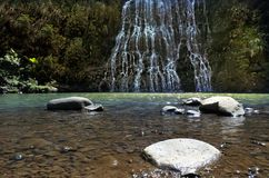 Low angle of Karekare Falls Royalty Free Stock Photo